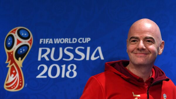 FIFA President Gianni Infantino smiles before a news-conference at the Luzhniki stadium, in Moscow, Russia, July 13, 2018 - Sputnik Italia