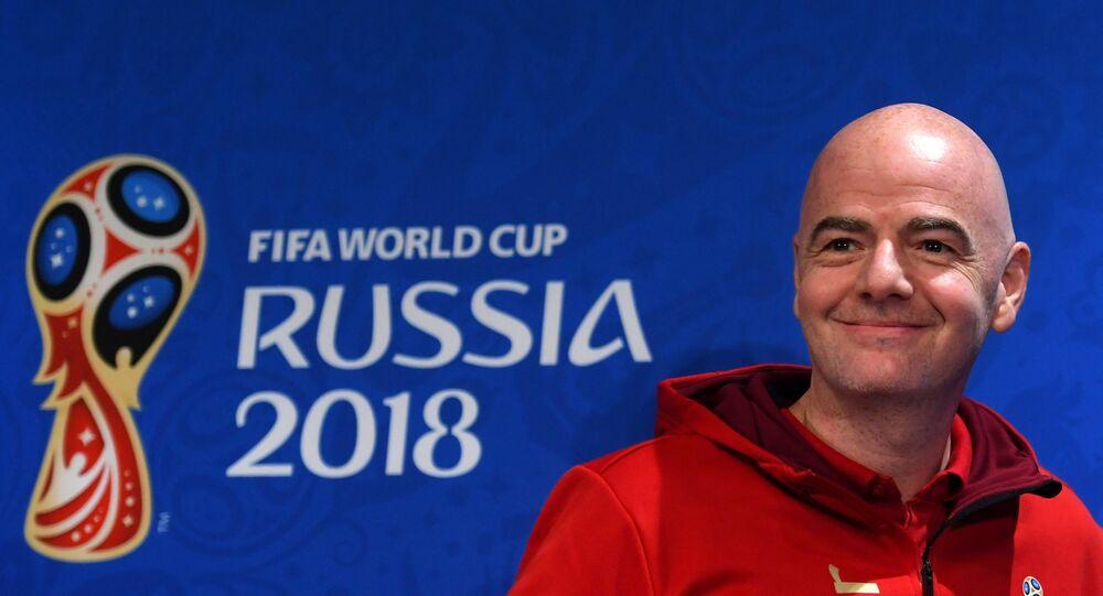 Il presidente della FIFA Gianni Infantino durante la conferenza stampa conclusiva del Mondiale