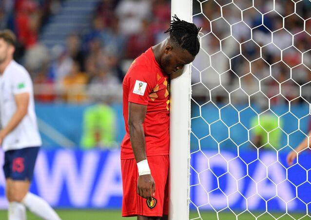 Il giocatore belga Michy Batshuayi durante la partita tra Inghilterra e Belgio della fase a gironi dei Mondiali 2018