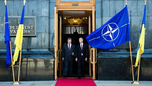 Il presidente ucraino Petro Poroshenko e il segretario generale della NATO Jens Stoltenberg - Sputnik Italia