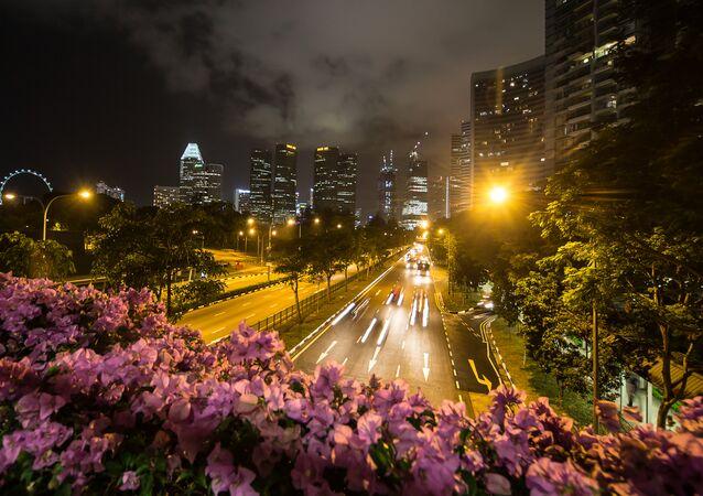 Veduta di una strada di Singapore