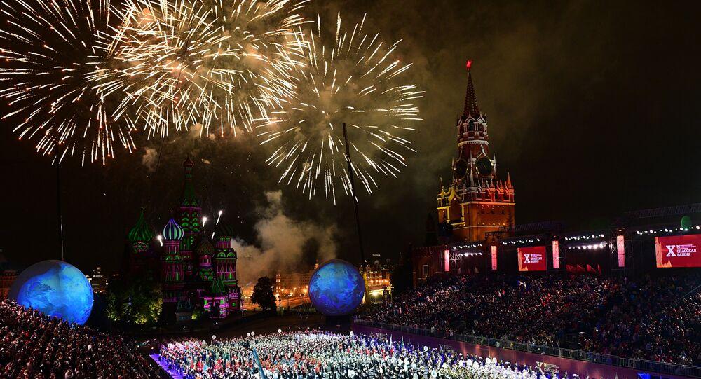 Una fotografia della cerimonia di chiusura del festival Spasskaya Bashnya 2017