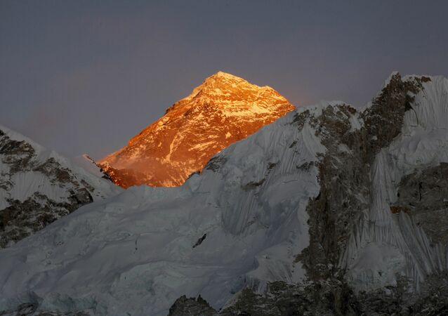 In this Nov. 12, 2015, file photo, Mt. Everest is seen from the way to Kalapatthar in Nepal