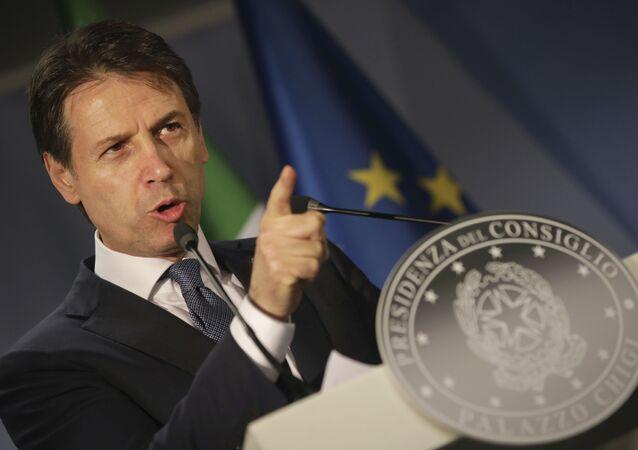 Premier dell'Italia Giuseppe Conte al vertice Ue a Bruxelles