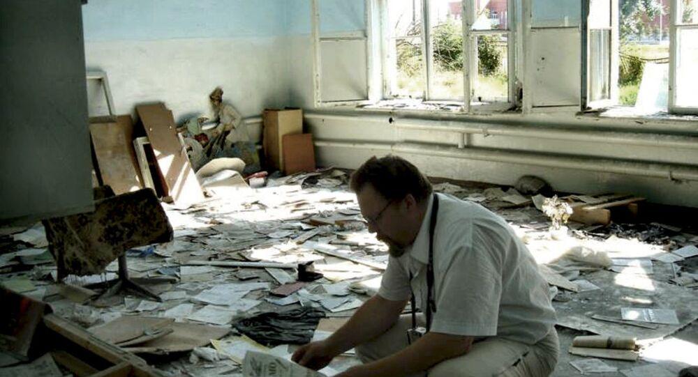 Ennio Bordato nella scuola di Beslan