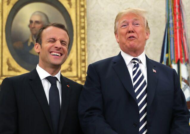 Donald Trump ed Emmanuel Macron (foto d'archivio)