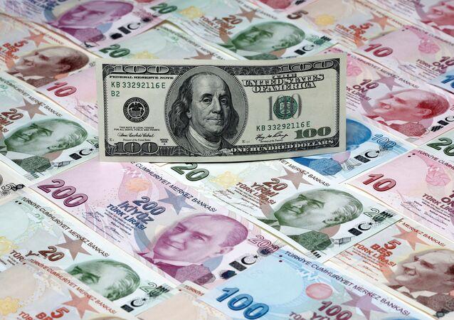 Un dollaro sullo sfondo di un tappeto di lire turche