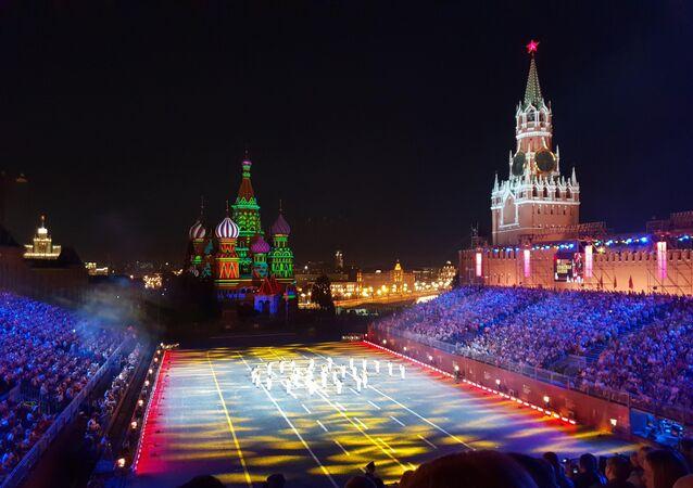 L'esibizione della Fanfara dei Bersaglieri al Festival Spasskaya 2018 a Mosca