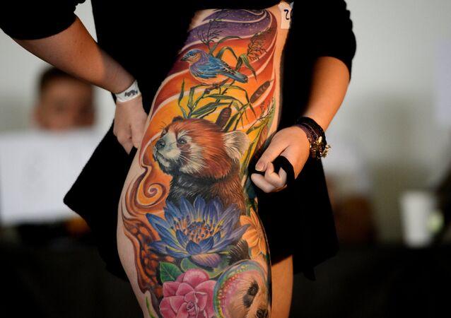 Partecipante alla 7° edizione del Festival siberiano di tatuaggio, la regione di Novosibirsk