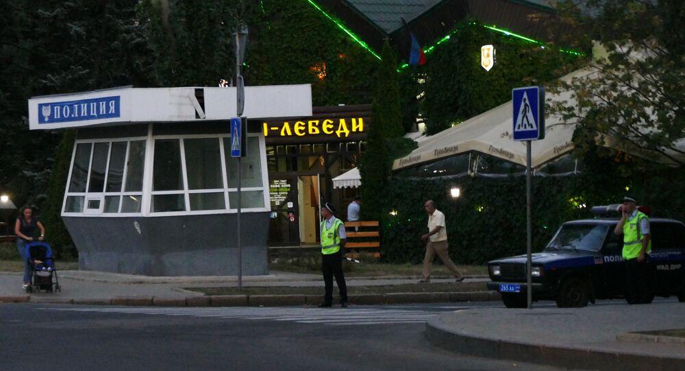 Luogo dell'esplosione in cui è stato ucciso il leader della DNR Aleksandr Zakharchenko