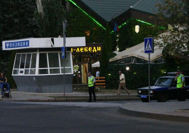 Luogo dell'esplosione in cui è stato ucciso il leader della DNR Alexander Zakharchenko