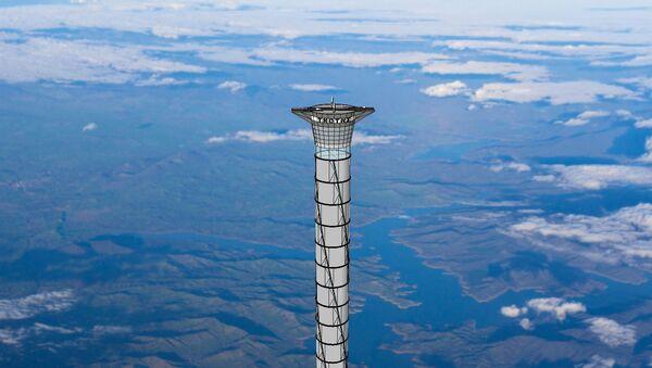 Disegno teorico di un ascensore spaziale. - Sputnik Italia