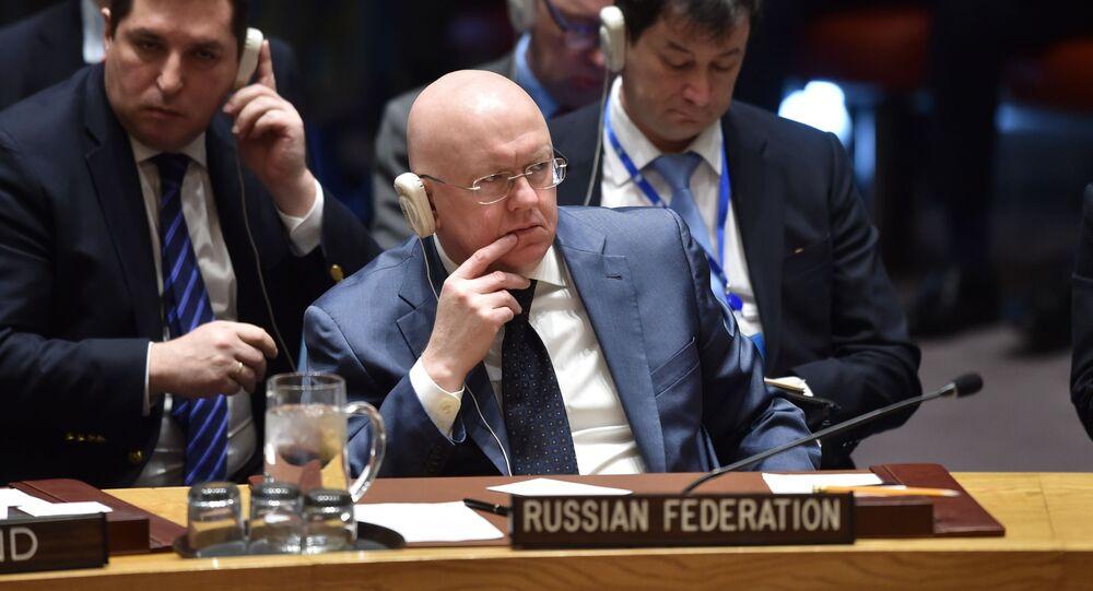 Il rappresentante permanente della Russia alle Nazioni Unite Vasily Nebenzya