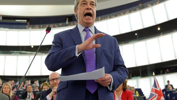 Nigel Farage, United Kingdom Independence Party (UKIP) member and MEP, addresses the European Parliament during a debate on Brexit priorities and the upcomming talks on the UK's withdrawal from the EU, in Strasbourg, France, April 5, 2017. - Sputnik Italia