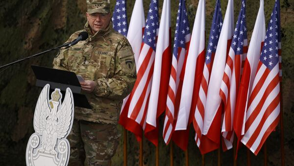 US Army Europe Commanding General Ben Hodges speaks during the inauguration ceremony of bilateral military training between US and Polish troops in Zagan, Poland, January 30, 2017. - Sputnik Italia