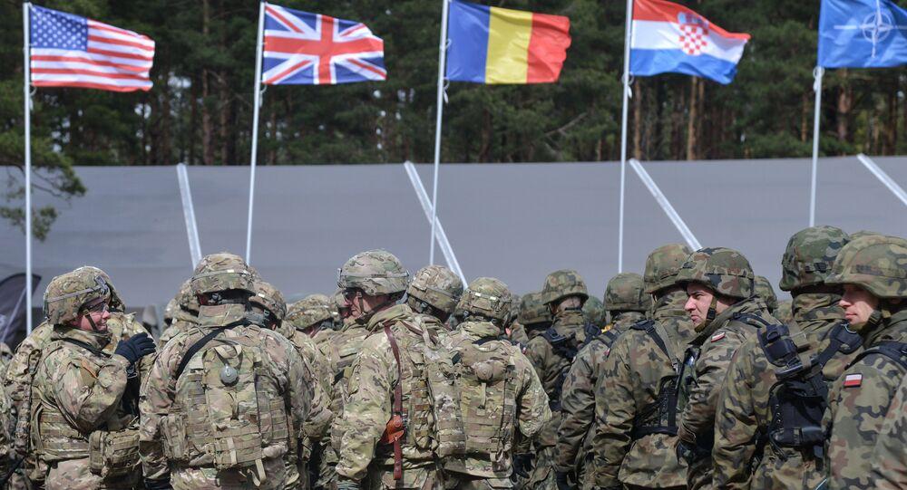 La cerimonia di benvenuto per il battaglione multinazionale della NATO con capo gli USA ad Orzysz, Polonia.