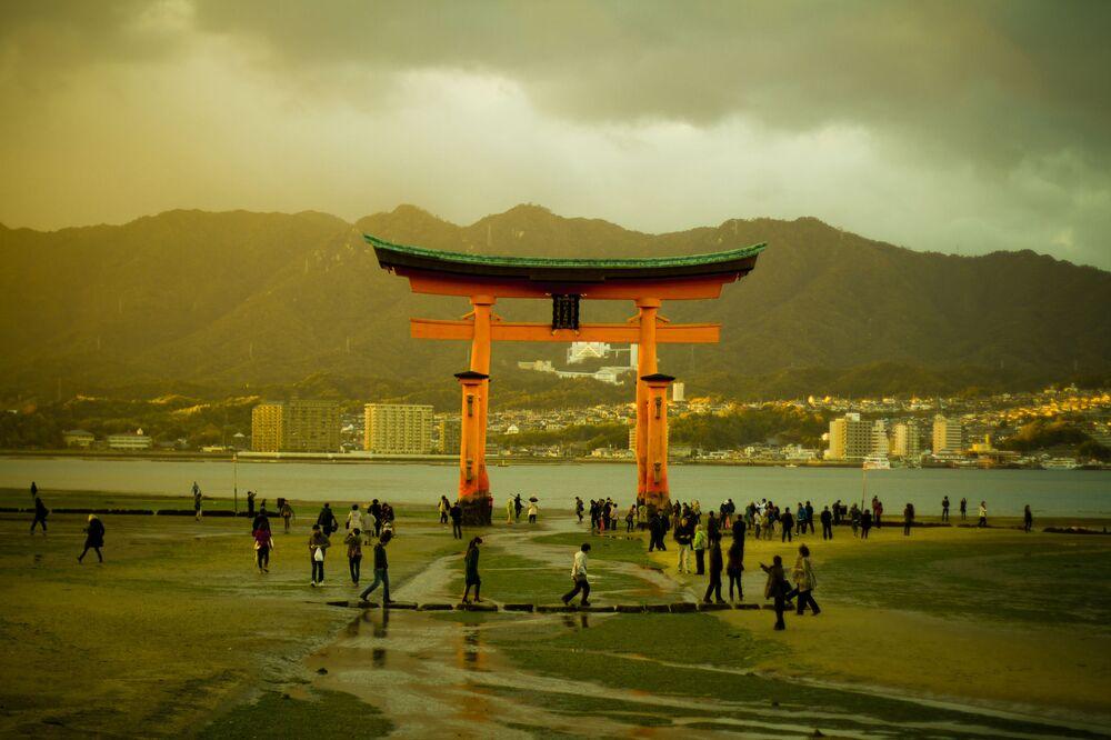 Santuario shintoista nell'isola di Itsukushima, Giappone