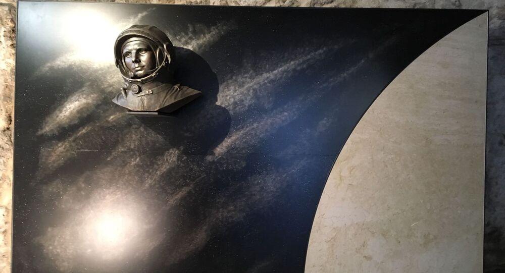 Il busto al cosmonauta Jury Gagarin
