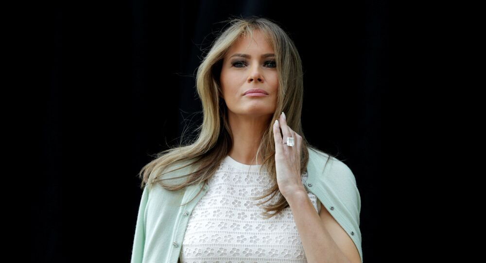 U.S. first lady Melania Trump attends the opening of Bunny Mellon Healing Garden at Children's National Medical Center in Washington, U.S