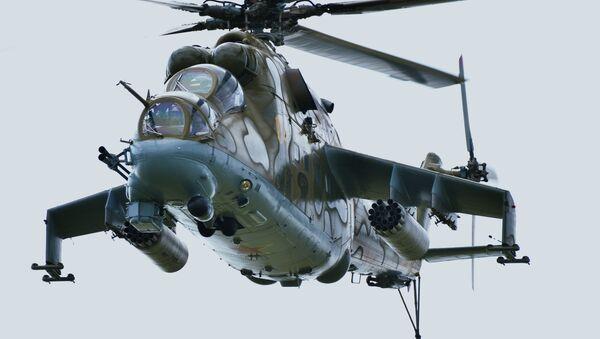 L'elicottero Mi-24 durante le esercitazioni congiunte di Cina, Russia, Kazakistan, Kirghizistan, Tagikistan e Uzbekistan. - Sputnik Italia