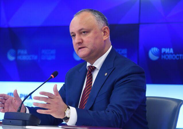 Igor Dodon durante la conferenza stampa nella sede di MIA ROSSIYA SEGODNYA