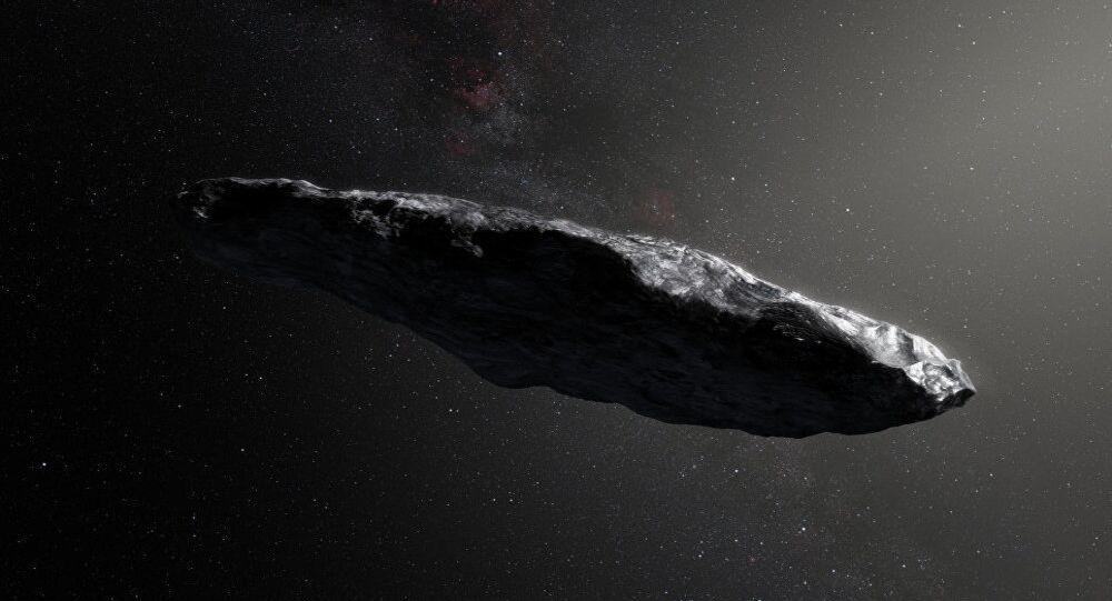 L'asteroide interstellare Oumuamua dipinto da un artista.