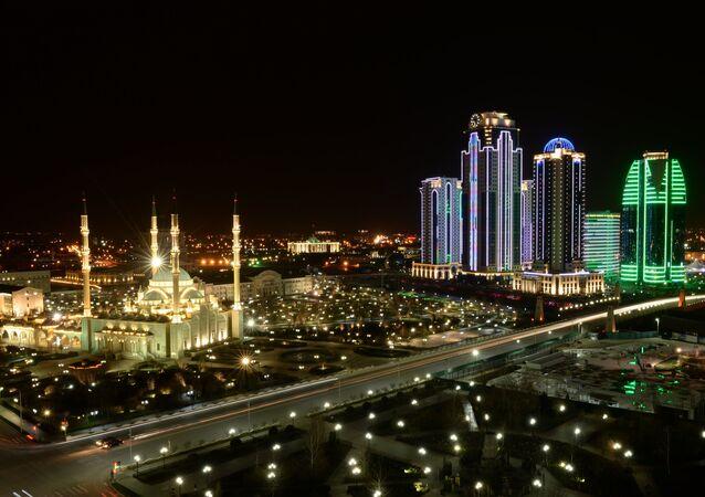 Grozny centro di notte - Cecenia