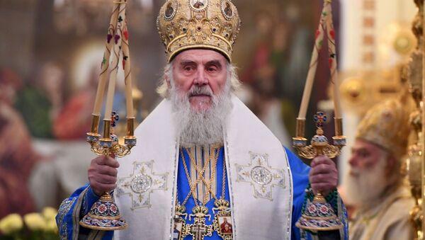 Патриарх Сербский Ириней во время божественной литургии - Sputnik Italia