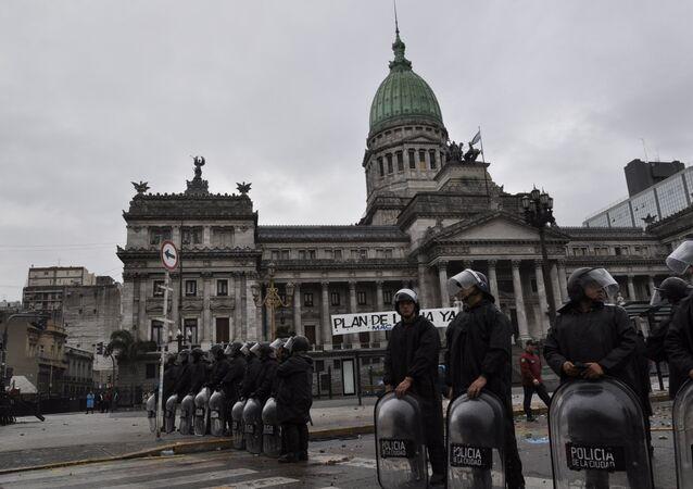 La Policía argentina durante los disturbios