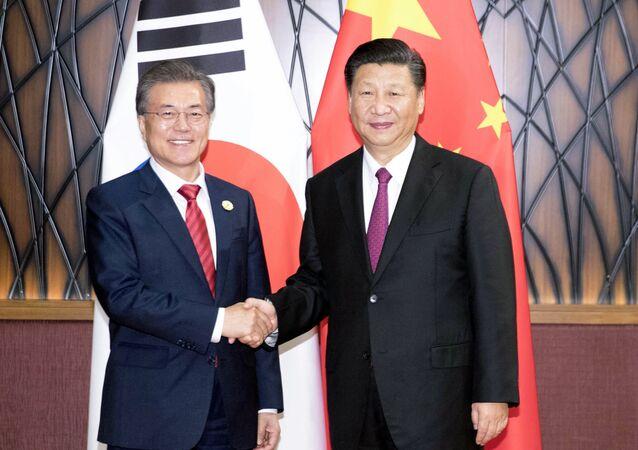Il presidente cinese Xi Jinping e la sua controparte sudcoreana Moon Jae-in