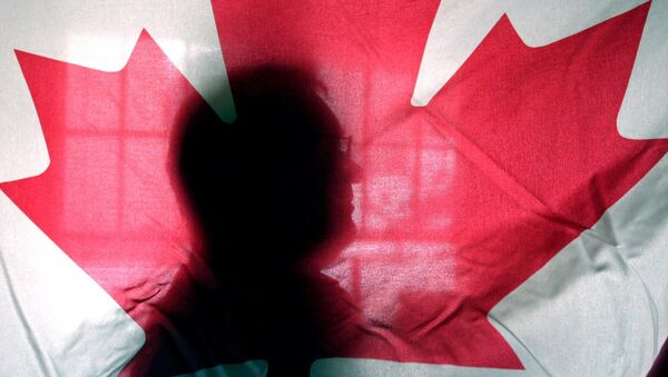 Andre Senecal, silhouetted behind a Canadian flag, Feb. 10, 2004, has been trying to get Americans to understand that Canada is more than polar bears, red-coated constables, hockey and long winters, introducing students to some of the intricacies of the European style of government. - Sputnik Italia