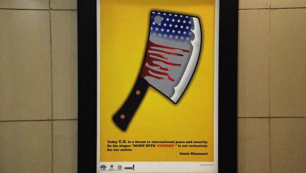 Una cartella antiamericana nel sottopassaggio della stazione della metropolitana Vali-Asr a Teheran, Iran. - Sputnik Italia