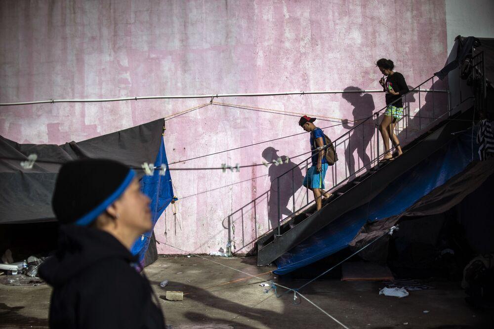 I migranti dell'America Centrale a Tijuana, Bassa California, Messico.