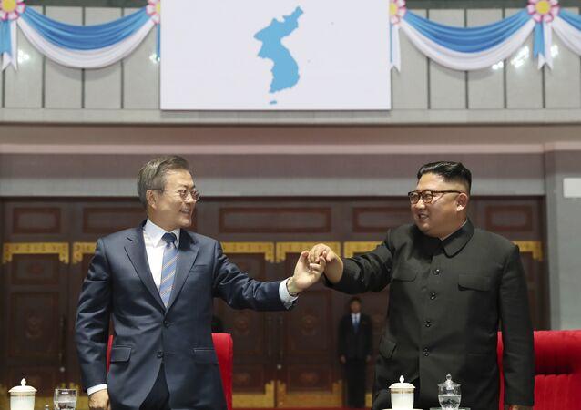 I leader delle due coree. Sullo sfondo la bandiera della Corea unificata.