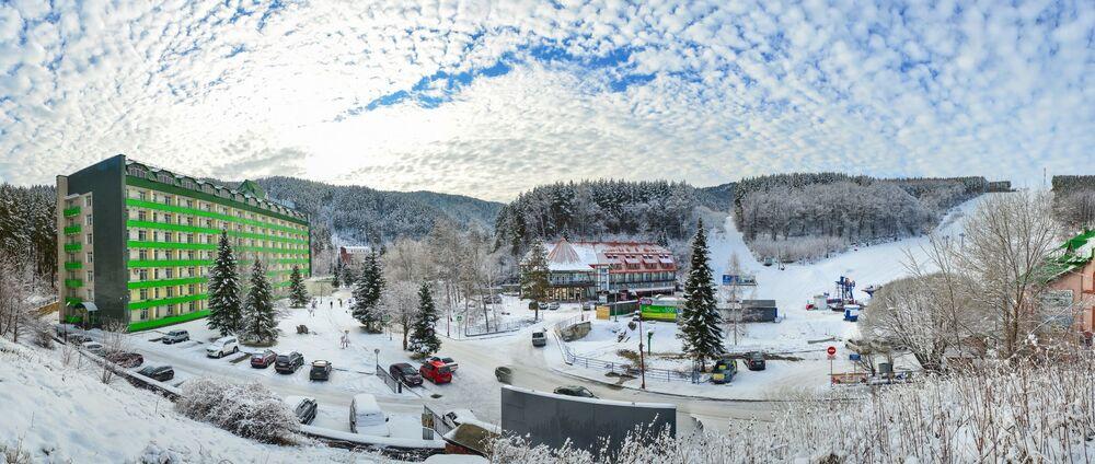 La veduta della stazione Belokurikha nel territorio di Altai