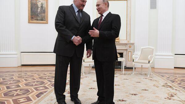 Presidenti della Russia e Bielorussia Vladimir Putin e Alexander Lukashenko, il 29 dicembre 2019 - Sputnik Italia