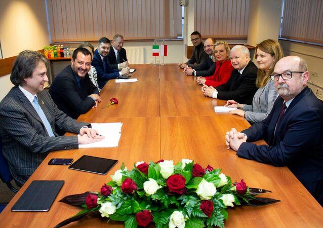Matteo Salvini all'incontro con Jaroslaw Kaczynski
