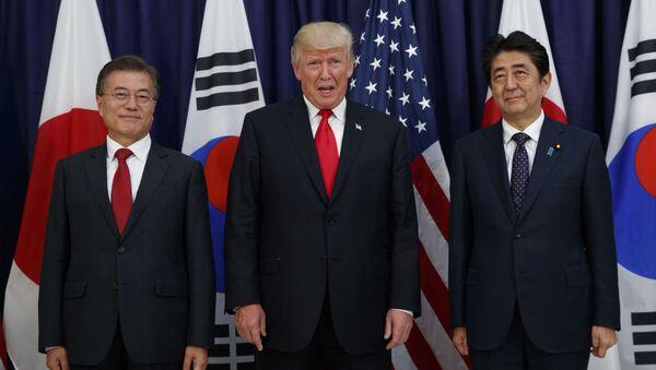 Shinko Abe, Donald Trump e Moon Jae-in - Sputnik Italia