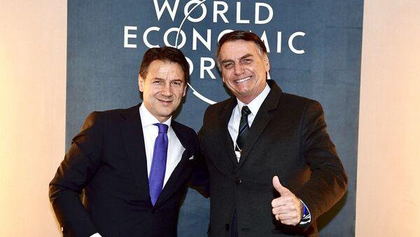 Giuseppe Conte e Jair Bolsonaro a Davos - Sputnik Italia