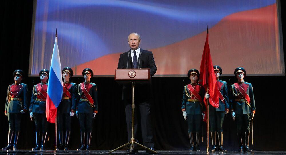 Putin durante gli eventi celebrativi del 75° anniversario della rottura dell'assedio di Leningrado
