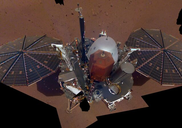This is NASA InSight's first selfie on Mars. It displays the lander's solar panels and deck. On top of the deck are its science instruments, weather sensor booms and UHF antenna. The selfie was taken on Dec. 6, 2018