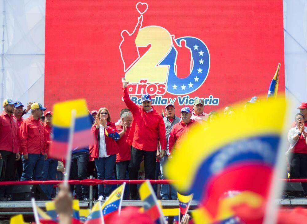 Presidente del Venezuela Nicolas Maduro parla durante una manifestazione a Caracas.