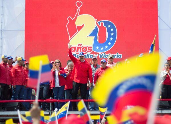 Presidente del Venezuela Nicolas Maduro parla durante una manifestazione a Caracas. - Sputnik Italia