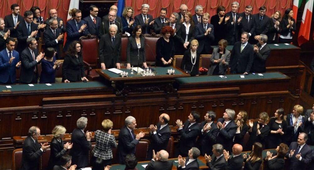 Il Presidente della Repubblica Sergio Mattarella nell'Aula di Montecitorio in occasione della cerimonia di giuramento