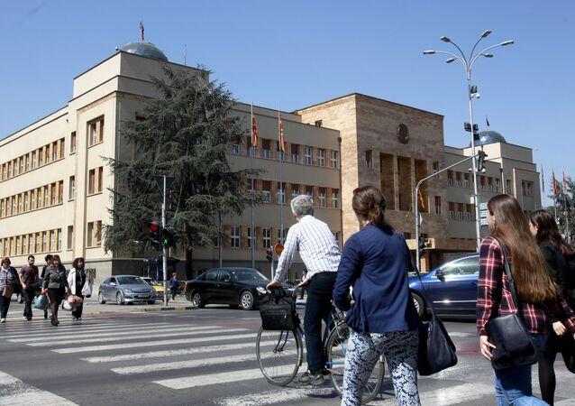 Palazzo del parlamento in Macedonia a Skopje.