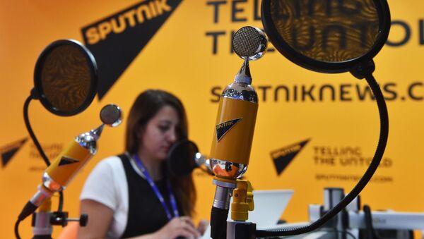Студия радио Sputnik в Экспофоруме на Санкт-Петербургском международном экономическом форуме 2017 - Sputnik Italia