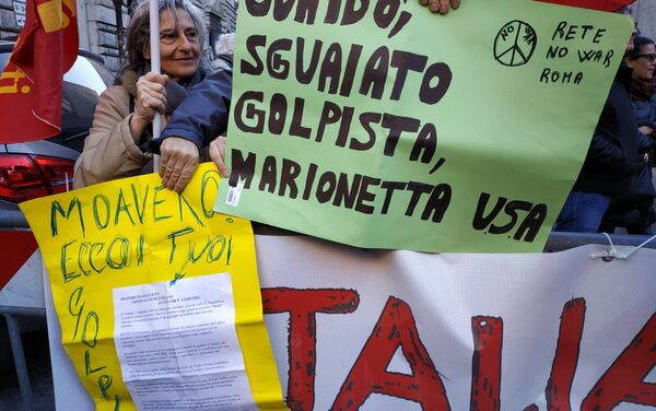 Roma, Piazza Vidoni, manifestazione unitaria a sostegno del legittimo presidente del Venezuela Nicolas Maduro - Sputnik Italia
