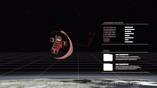 Artwork depicting a view from RemoveDEBRIS from its Vision Based Navigation system. - Sputnik Italia