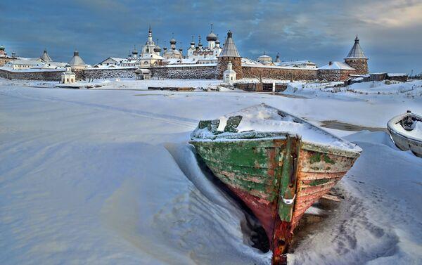Mar Bianco ghiacciato durante il periodo invernale - Sputnik Italia