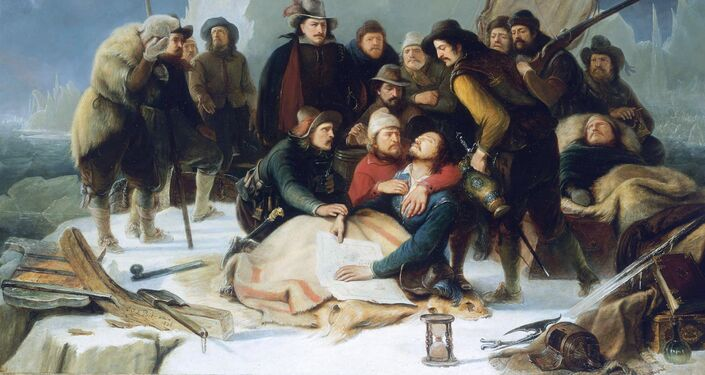 'La morte di Willem Barents' olio su tela di C.J.L.Protman